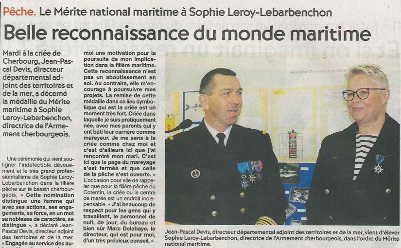 Le Mérite national maritime à Sophie Leroy-Le Barbenchon